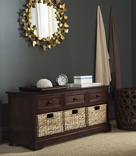 Safavieh American Homes Collection Damien Dark Cherry 3 Drawer Storage Unit (Wicker Drawers Small)