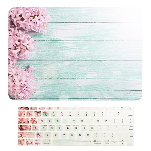 "TOP CASE - Macbook Pro 13 WITHOUT Touch Bar ( 2017 & 2016 Release) 2 in 1, Floral Pattern Matte Hard Case + Keyboard Cover for MacBook Pro 13"" (13"" Diagonally) A1708 without Touch Bar - Pink Hyacinth"