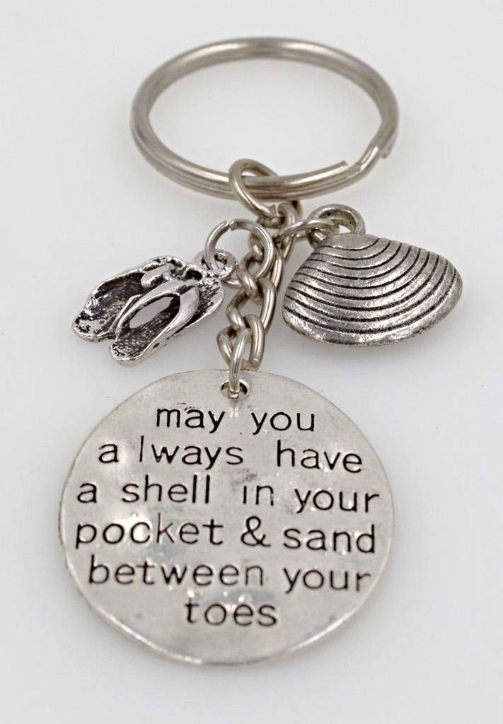 Keychain Gift: May You Always Have a Shell in Your Pocket and Sand Between Your Toes Sandals Shell 108F