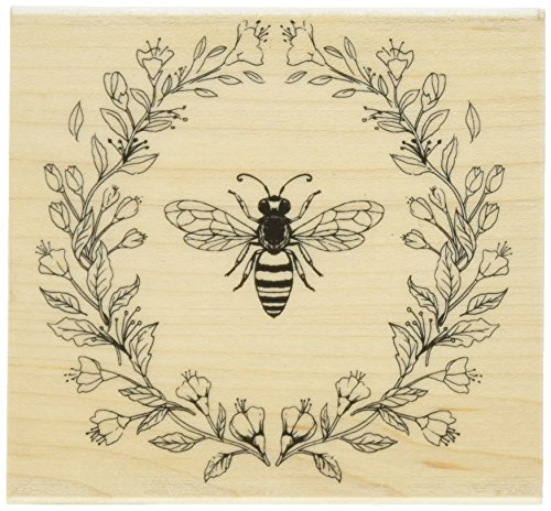 Hero Arts K6224 Antique Bee & Flowers Red Rubber Wood Stamp