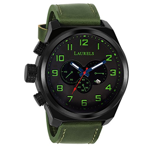 Laurels Raider Analogue Green Dial Day and Date Men's Watch – Lo-Rdr-040402