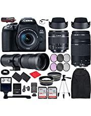 Canon EOS 850D (T8i) DSLR Camera with EF-S 18-55mm f/4-5.6 is STM, EF 75-300mm f/4-5.6 III, 420-800mm f/8 Lenses Bundle with Accessories (Extra Battery, Digital Flash, 128Gb Memory and More)