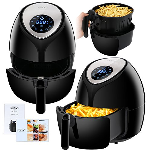 5.8-Quarts Digital Touch Screen Air Fryer 7 Cooking Presets for Healthy Oil Free Cooking W/Timer, Temperature Control, Dishwasher Safe Parts, Recipe Book (1800W) -