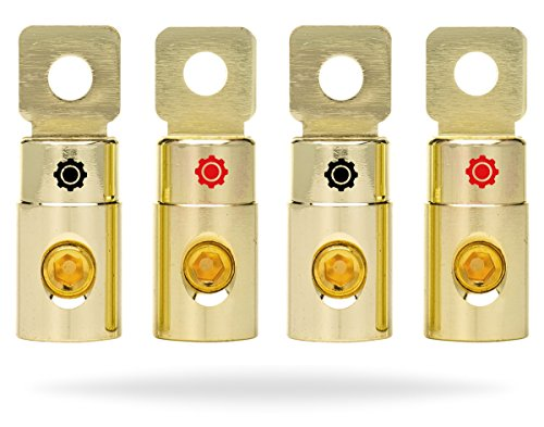 InstallGear 1/0 AWG Gauge Gold Ring Set Screw Battery Ring Terminals (4 Pack) (Gold Car Battery Terminals)