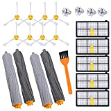 KEEPOW 15PCS Replacement Parts for iRobot Roomba 800 & 900 Series 980 960 890 880 860 870 Robotic Vacuum, Replenishment Kit with 5 Hepa Filters, 8 Side Brushes, 2 Set Tangle-Free Debris Extractor