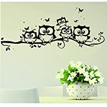 BIBITIME Family Owls On The Tree Branches Wall Decal Removable Cartoon Black Vinyl Owl Wall Art Decor Flying Butterfly Stickers for Babys Children Bedroom Living Room TV Background