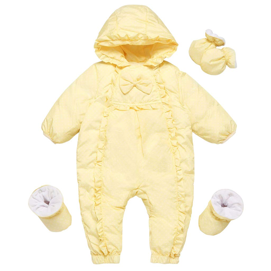 Baby Snowsuits Hooded Rompers Infant Thick Down Onesies Footed Jumpsuit Winter Outwear Outfits