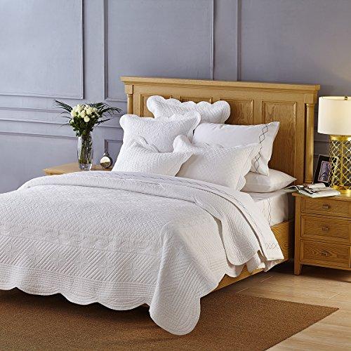 Calla Angel CAQTCTQWT_SGDN Sage Garden Luxury Pure Cotton Quilt,White,Queen
