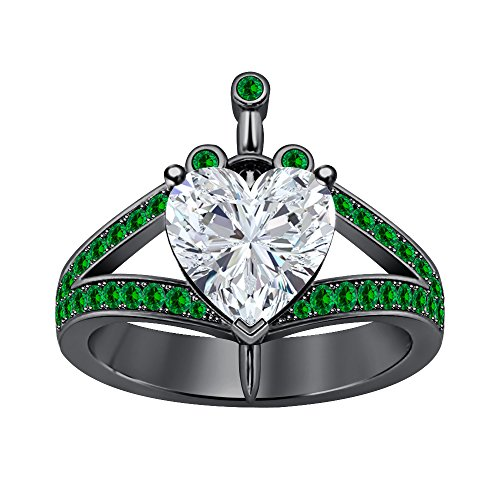 Awesome 3 ct.tw Heart Shaped Created White CZ Diamond & Green Emerald Engagement Ring 18K Black Gold Plated Valentine's Day Special Ct Tw Diamond Emerald Ring