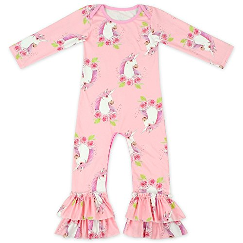 (Anbaby Baby Girls Cute Romper Bodysuit Clothes (6-12 Months, Pink Unicorn))