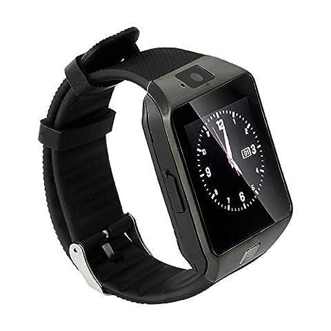 TechComm DZ09 Bluetooth and GSM Unlocked Smartwatch with 0.5MP Camera, Fitness Tracker, Pedometer, Sleep Monitor and Sedentary (Gsm Unlocked Iphones S3)