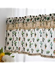 ZZCZZC Pastoral Kitchen Curtains Inches Long Modern Farmhouse Cotton Linen Short Window Country Cafe Curtains Semi-Transparent Small Tier Curtain Decor