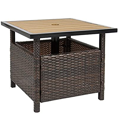 Best Choice Products Patio Umbrella Stand Wicker Rattan Side Table Outdoor Furniture Garden Deck Pool