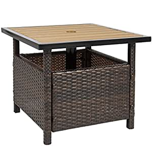 Best Choice Products Patio Umbrella Stand Wicker Rattan Outdoor Furniture Garden