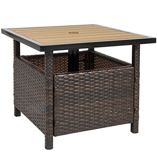 Best Choice Products Patio Umbrella Stand Wicker Rattan Outdoor Furniture Garden Deck Pool (Side Table Umbrella)