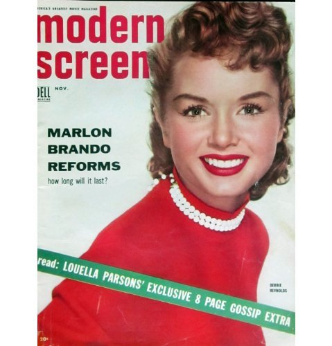MODERN SCREEN magazine November 1954 Debbie Reynolds cover (back cover missing). Inside full page ad A STAR IS BORN with Judy Garland, articles and photos include Marilyn Monroe, Debbie Reynolds, Montgomery Clift, Doris Day, Frank Sinatra, Alan Ladd. All magazines shipped in a protective-archival sleeve.