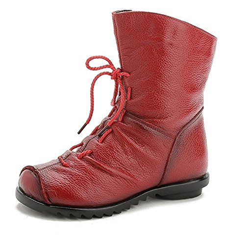 Rei Snow Boots - New Women Fashion Vintage Genuine Leather Shoes Female Spring Autumn Platform Ankle Boots Woman Lace Up Casual Boots No Fur Red 9.5