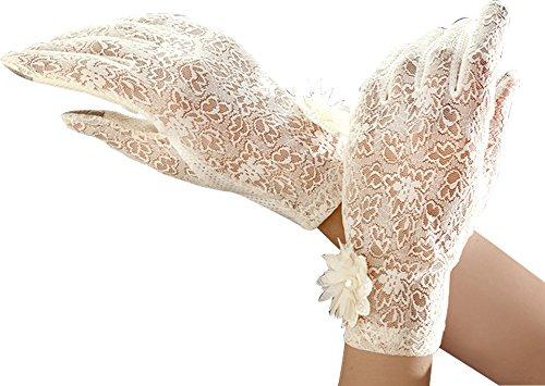Women's Summer Screentouch Gloves Lace Anti-skid Outdoor Driving Gloves, Beige