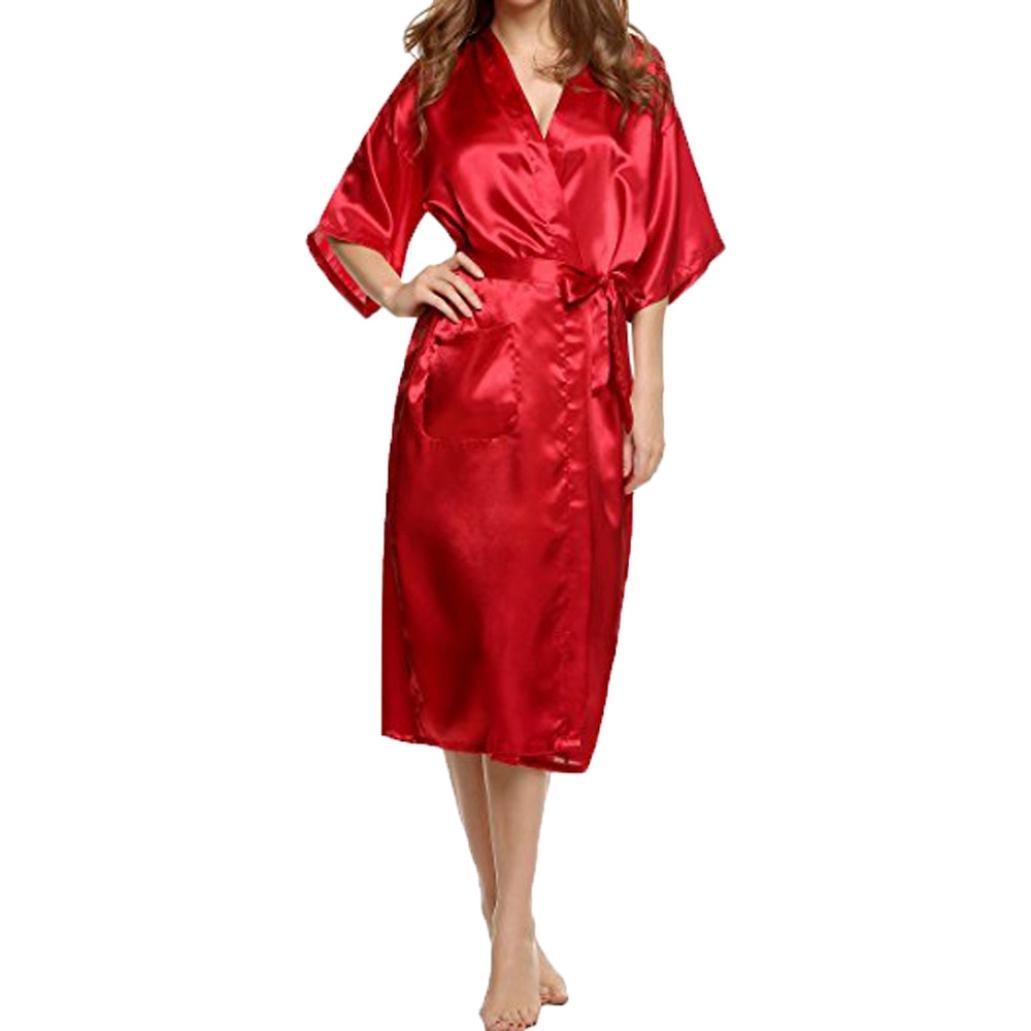 Srogem Womens Lingerie Women's Long Robes Nightgown Satin Lounge Kimono Nightwear