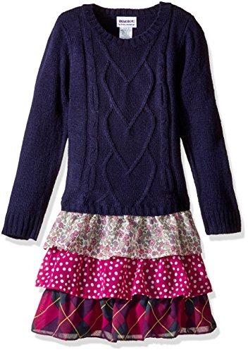 Blueberi Boulevard Little Girls' Tiered Sweater Dress, Navy, 6 (Boulevard Blueberi Dress)