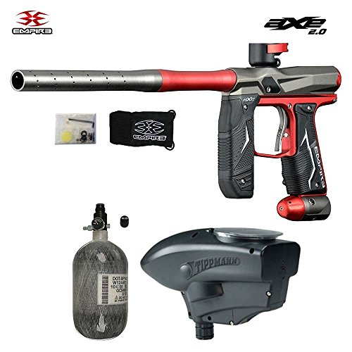 Empire Ramp Paintballs - MAddog Empire Axe 2.0 Advanced HPA Paintball Gun Package - Dust Red/Dust Grey