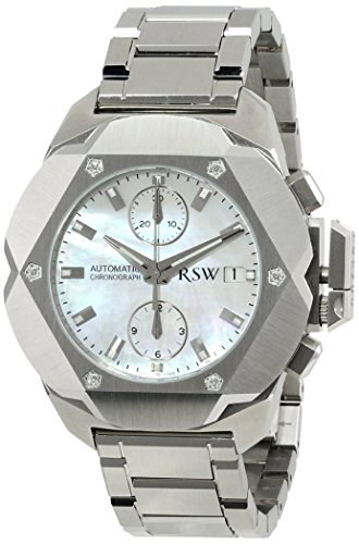 RSW Men's 4400.MS.S0.21.D0 Nazca Stainless-Steel Mother-of-Pearl Diamond Automatic Chronograph Watch
