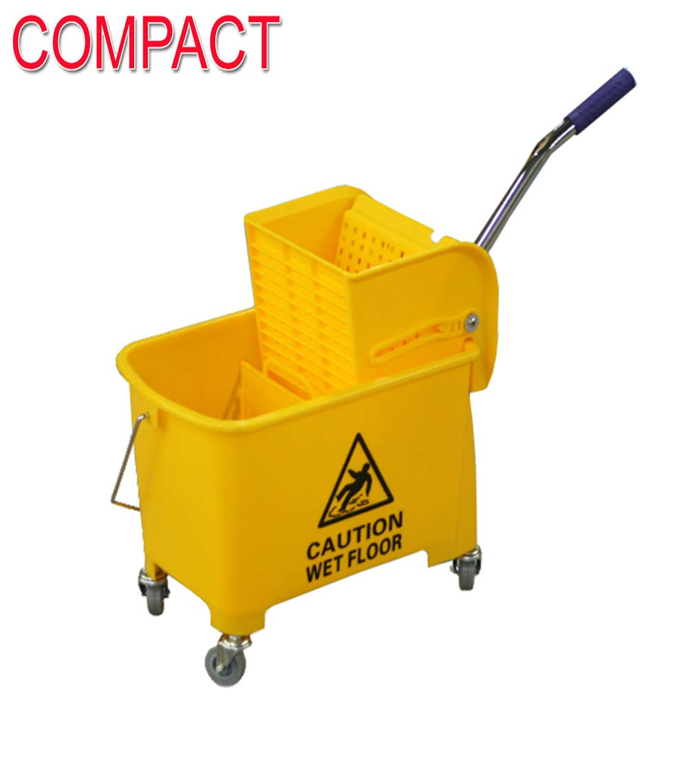Compact Mini Mop Bucket w/Side Press Wringer 17 QT Yellow, Blue & Green by janiLink (Yellow)