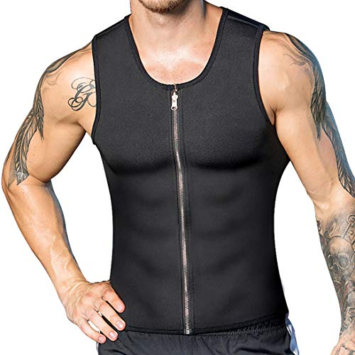 DoLoveY Men Neoprene Sauna Vest with Zipper Waist Trainer Vest Hot Sweat Weight Loss Shaper
