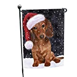 Cheap Let it Snow Christmas Holiday Dachshunds Dog Wearing Santa Hat Garden Flag