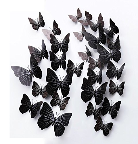 FLY SPRAY 24 Pcs 3D Artificial Black Butterfly Removable Mural Wall Stickers Wall Decal For Home Decor Nursery Decoration