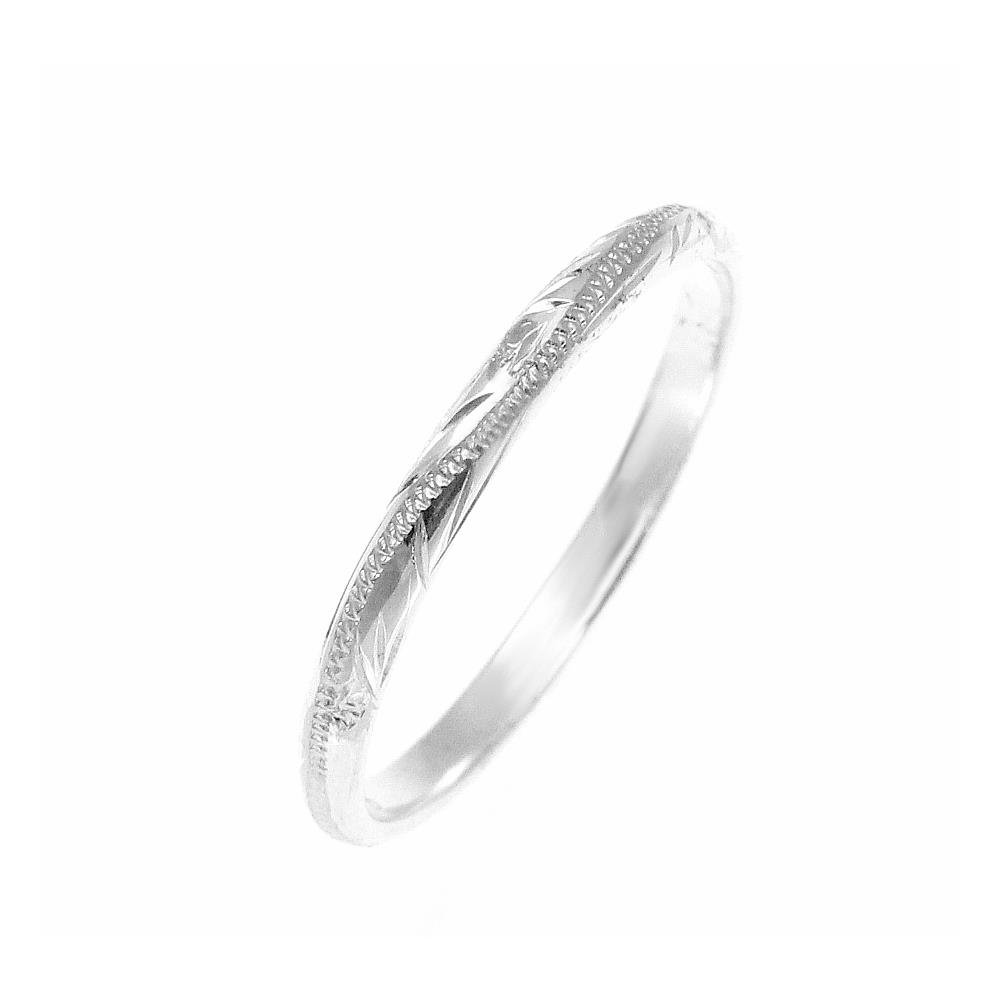 Sterling silver 925 2mm Hawaiian scroll hand engraved ring band size 4
