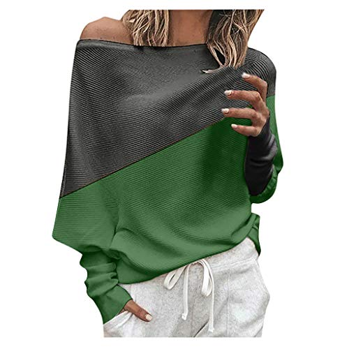 Women Wide Neck Sweater Off Shoulder Knitted Jumper Tops Pullover Loose Batwing Long Sleeve Irregular Sweater Green