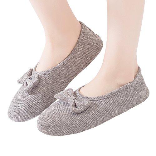 Bestfur Strikknoop Comfortabele Elastische Gebreide Katoenen Indoor Pantoffels Voor Dames Grijs