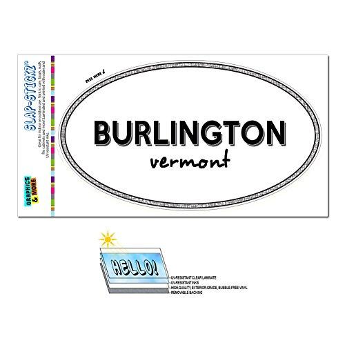 Graphics and More Euro Oval Window Bumper Glossy Laminated Sticker Vermont VT City State Bar - Win - Burlington -