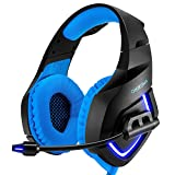 super black bass - PC Gaming Headset for PS4 XBOX One, Onikuma 3.5mm Stereo USB LED Headphones with Omnidirectional Microphone, Volume Control for Computer Laptop Mac PlayStation 4 by YSSHUI-Black + Blue
