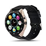 Smart Watch, MindKoo KW88 Bluetooth 3G SIM Card GPS MTK6580 WIFI Wrist Phone Pedometer Heart Rate Wireless Android 5.1 Smart Watch For Samsung Galaxy S7/S6,or other Android Phone (Black + Gold)
