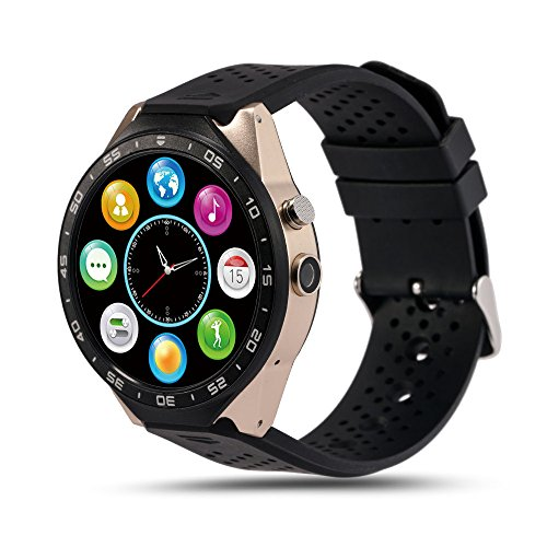 Smart Watch, MindKoo KW88 Bluetooth 3G SIM Card GPS MTK6580 WIFI Wrist Phone Pedometer Heart Rate Wireless Android 5.1 Smart Watch For Samsung Galaxy S7/S6,or other Android Phone (Black + Gold) by Mindkoo