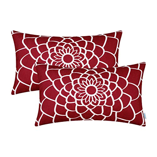 CaliTime Pack of 2 Soft Canvas Bolster Pillow Covers Cases for Couch Sofa Home Decor Dahlia Floral Outline Both Sides Print 12 X 20 Inches Dark Red