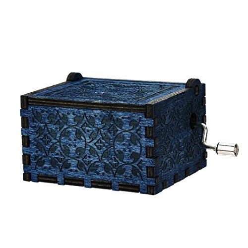 Iuhan Mini Music Box Engraved Wooden Music Box Interesting Toys Xmas Gifts (Dark Blue)
