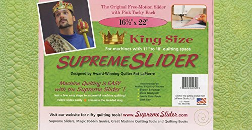 King Size Supreme Slider Free Motion Machine Quilting Mat: Improved Trimable Free-motion Slider with Pink Tacky Back and Bigger Size (16.5 Inch X 22 Inch) by Supreme Slider