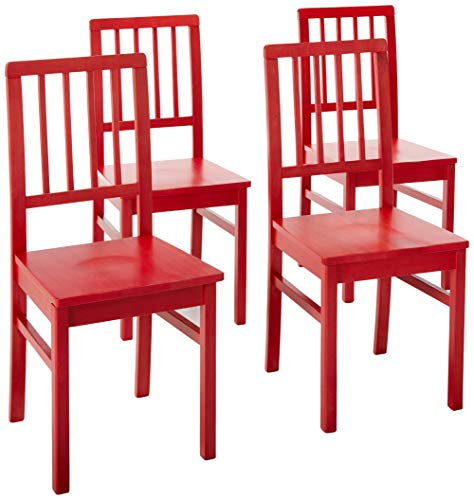 Target Marketing Systems Camden Collection Modern Slatted Back Dining Chairs, Set of 4, Red (Kitchen Chairs Table Red Set And)