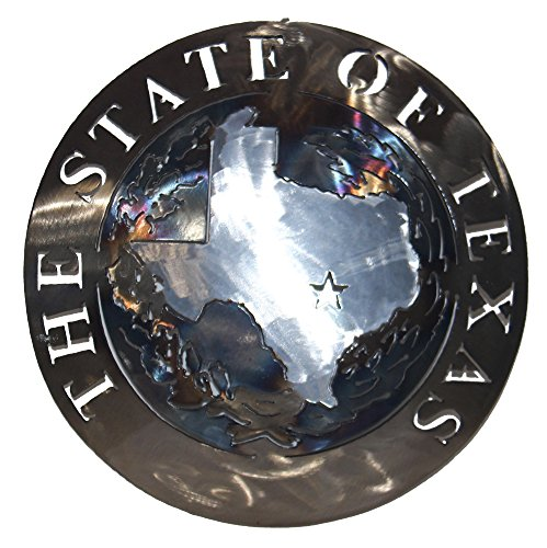 (The State of Texas Torched Blue Metal Art Plasma Cut Texas Seal)