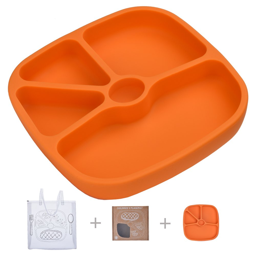 TOPQSC Silicone Baby Divided Suction Plate - Non-Skid Tray Portable Place Mat - for Infant Toddler Kid - Fits Most Highchair Table Home - with 1 Extra HQ Portable Bag - Orange