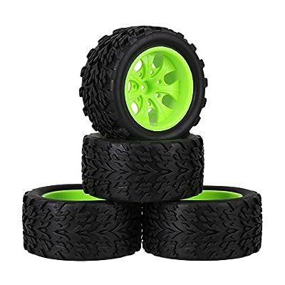 Mxfans RC 1:10 Truck Black Rubber Arrow Pattern Tire & Green Plastic 7-Spoke Wheel Rim 12mm Drive Hex Pack of 4