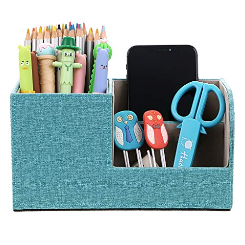 BTSKY Linen Desk Organizer Pen/Pencil Holder Remote Control/Cell Phones/Brushes Holder Office Home Accessories Container Storage Box (Linen Blue) ()