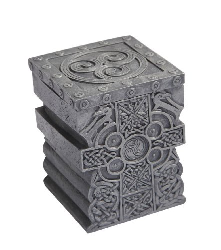 3.5 Inch Engraved Celtic Cross Jewelry/Trinket Box with Lid - Trinket Celtic Cross