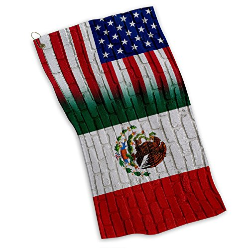 (Golf / Sports / Kitchen Towel with Flag of Mexico - Bricks w USA Flag - Lightweight and Durable MicroFiber)