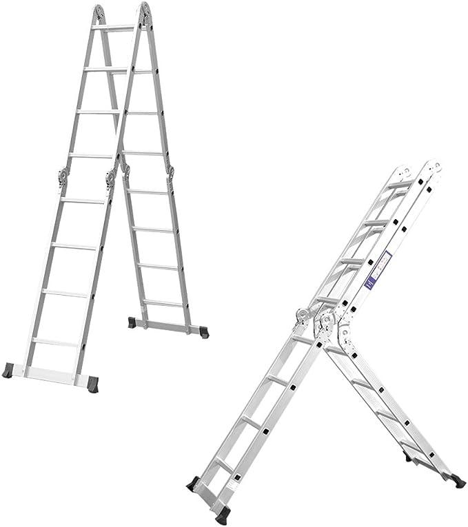 Finether 4.7m /Échelle Pliante/T/élescopique Aluminium Multifonction/Extensible et Polyvalente Escabeau /à Haute R/ésistance avec Charni/ères de S/écurit/é et 2 Panneaux Certifi/é EN131-16 Echelons