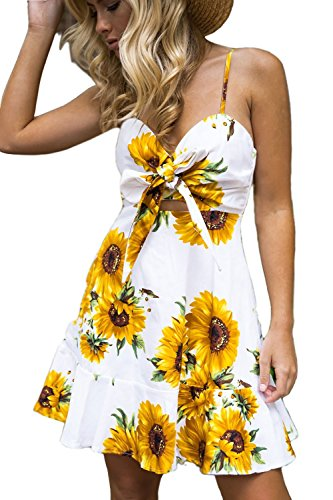 Minipeach - Robe - Trapze - Femme jaune S blanc floral