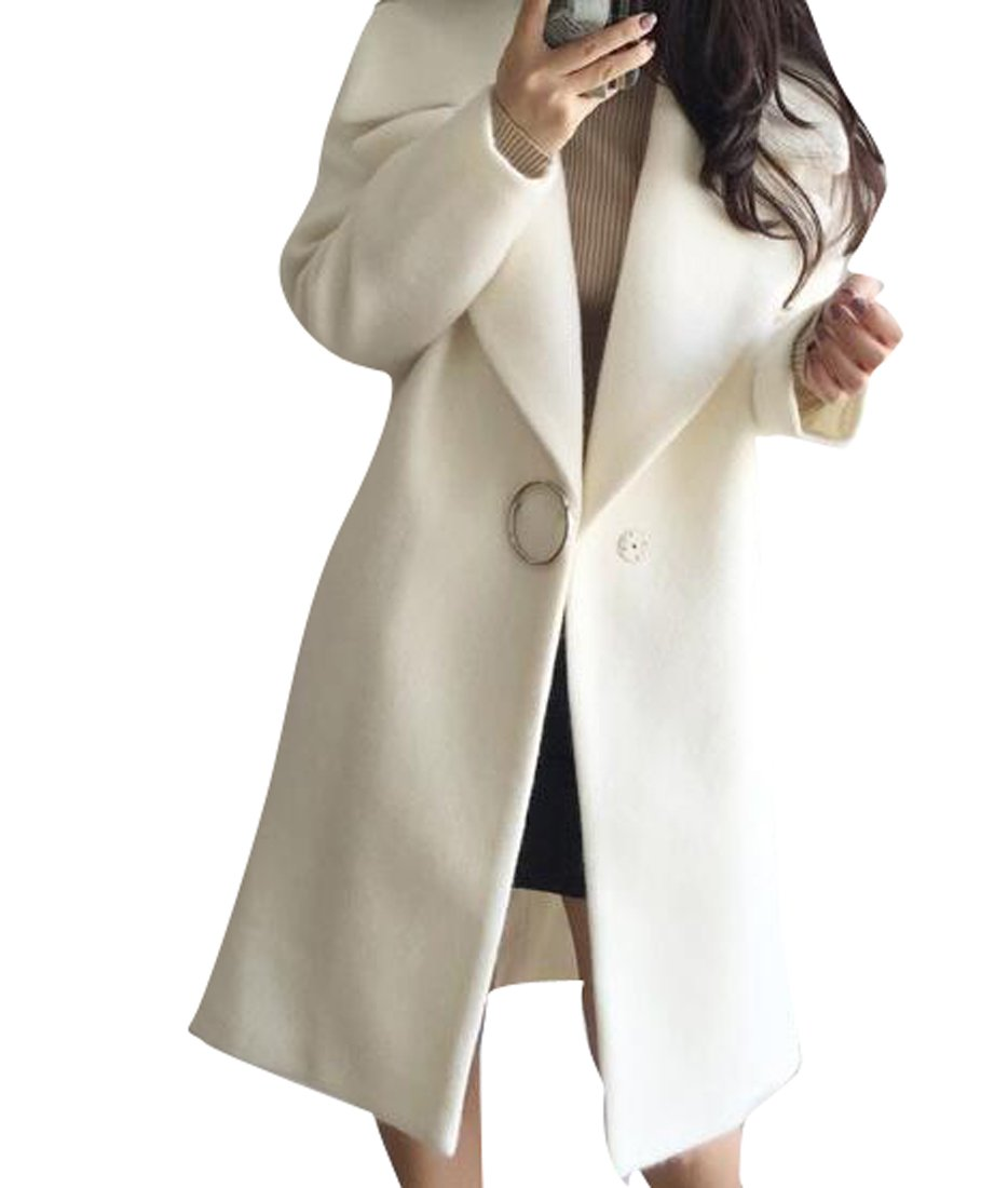 Fensajomon Womens Winter Lapel One Button Loose Long Wool Trench Pea Coat Overcoat White M